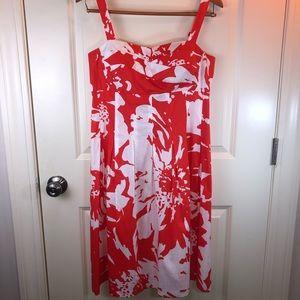 R & K Originals Coral/White Sun Dress sz 12